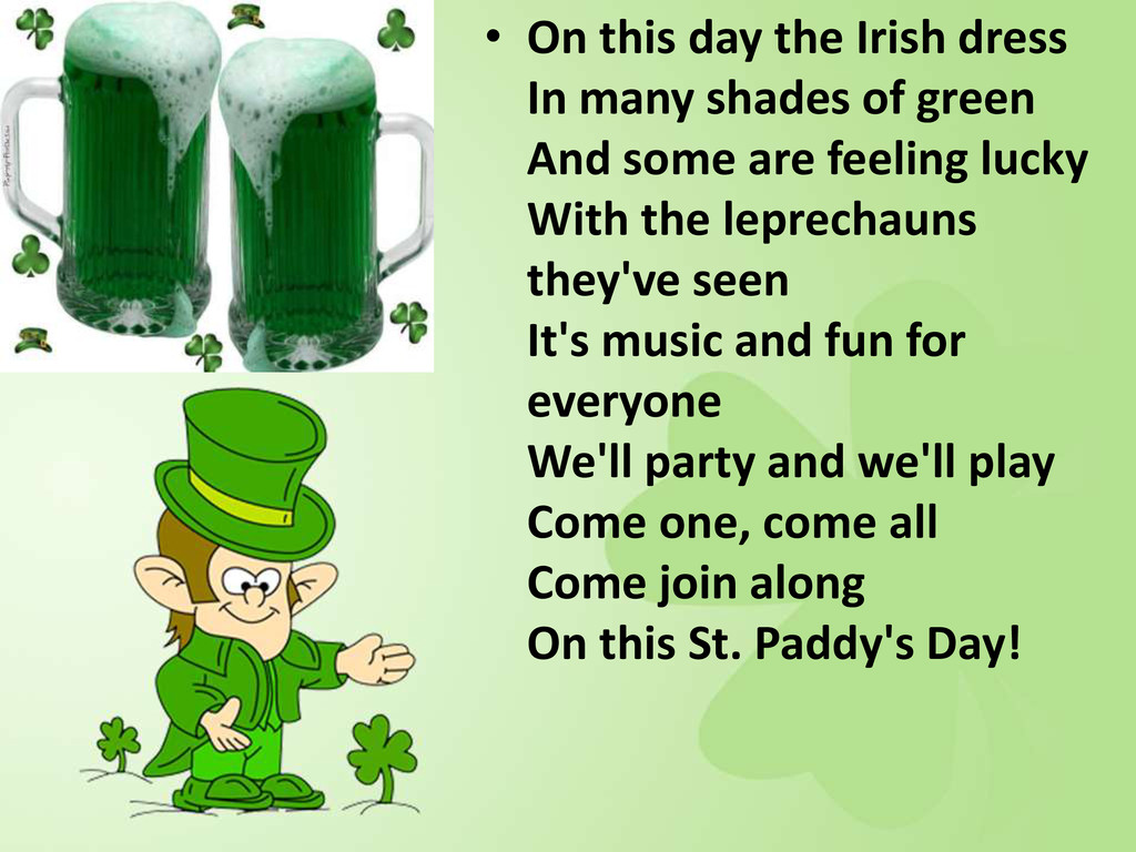 • On this day the Irish dress In many shades of...