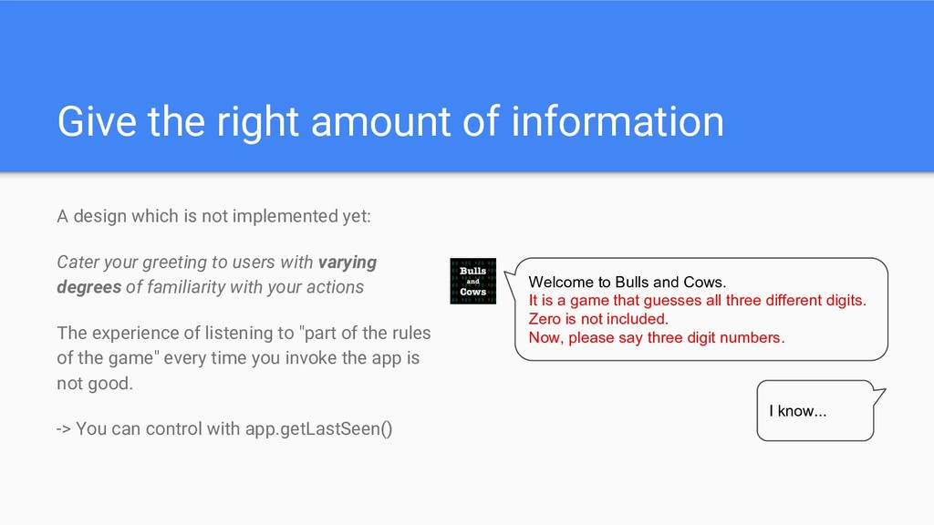 Give the right amount of information A design w...