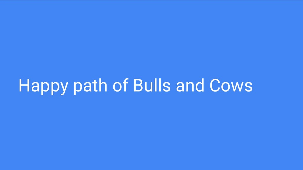 Happy path of Bulls and Cows