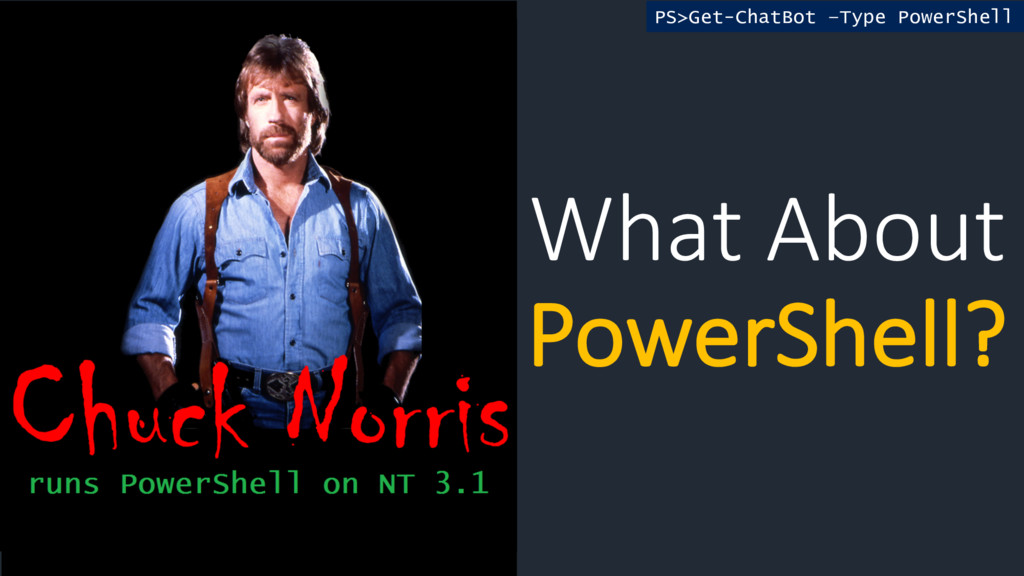 What About PowerShell? PS>Get-ChatBot –Type Pow...