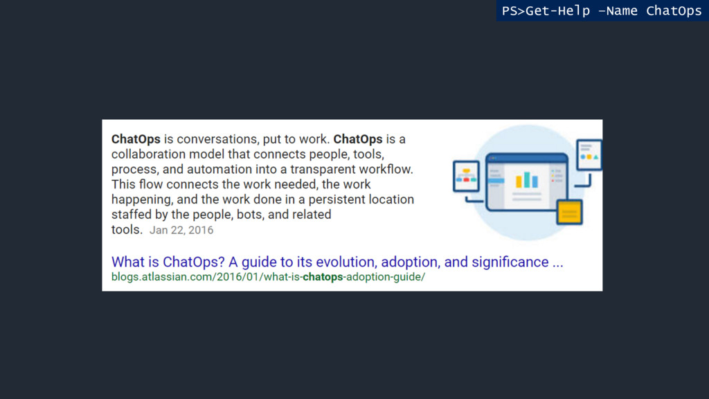 PS>Get-Help –Name ChatOps