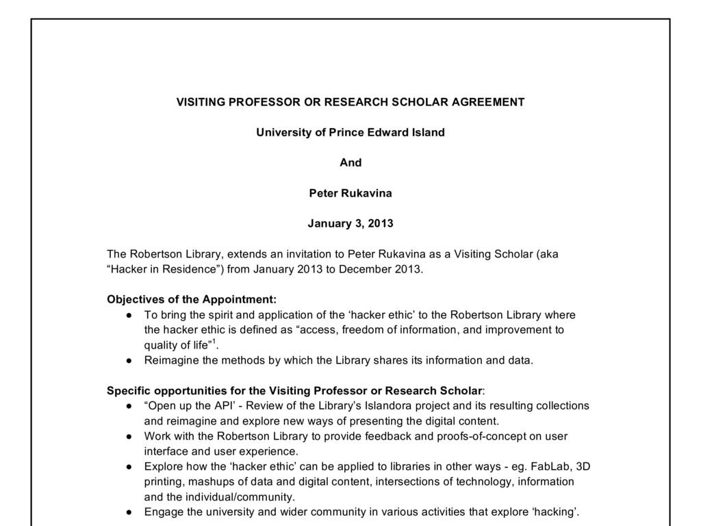 VISITING PROFESSOR OR RESEARCH SCHOLAR AGREEMEN...