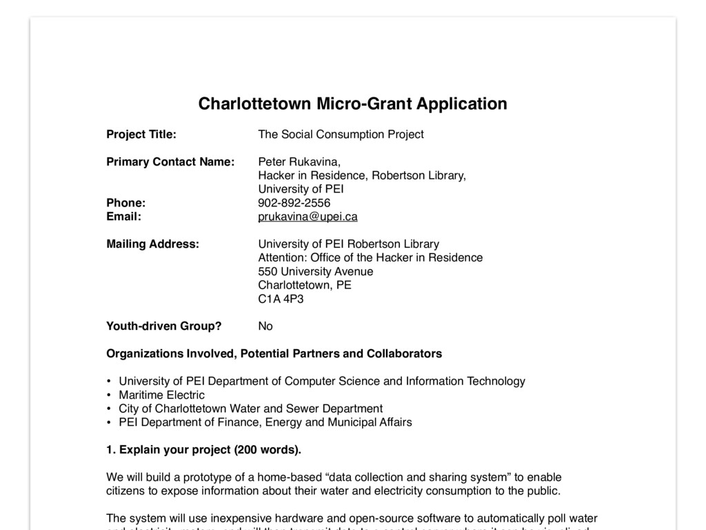 Charlottetown Micro-Grant Application! ! Projec...