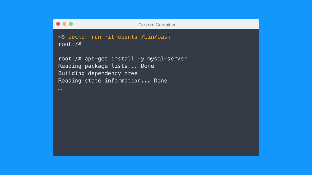 Custom Container ~$ docker run -it ubuntu /bin/...