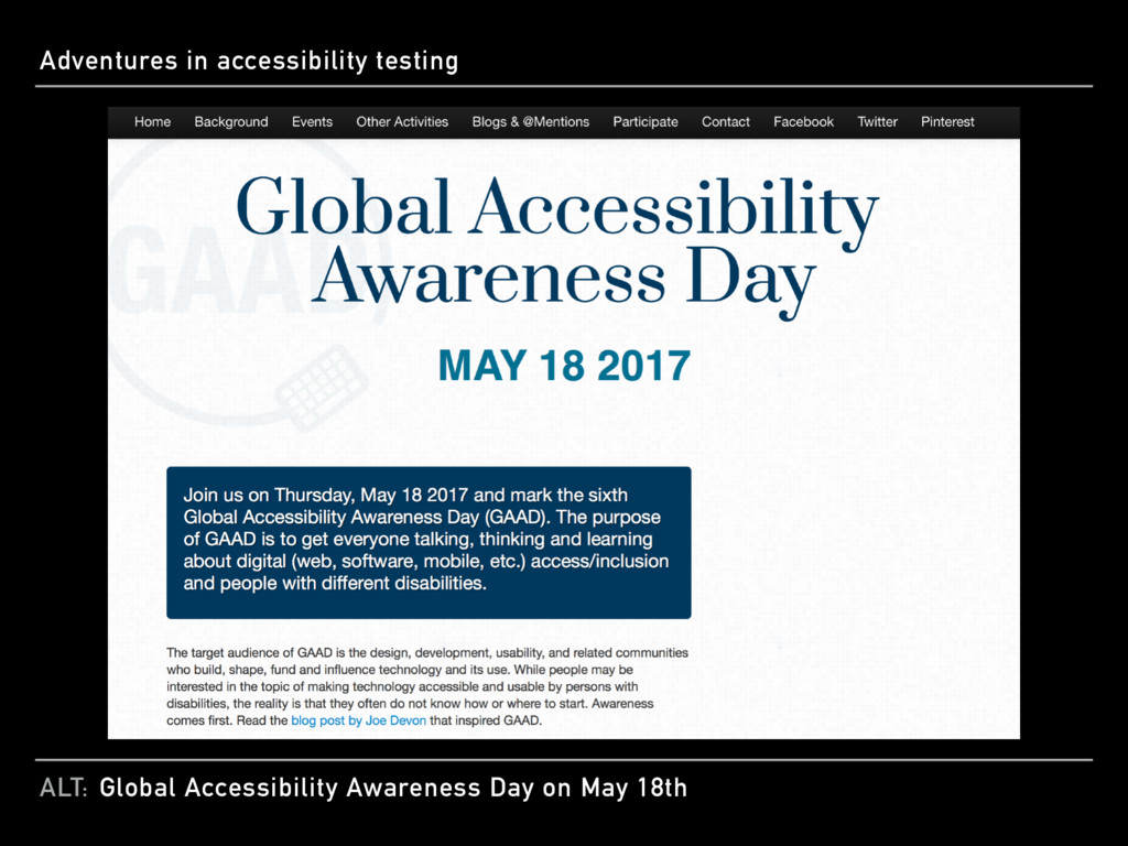 ALT: Adventures in accessibility testing Global...
