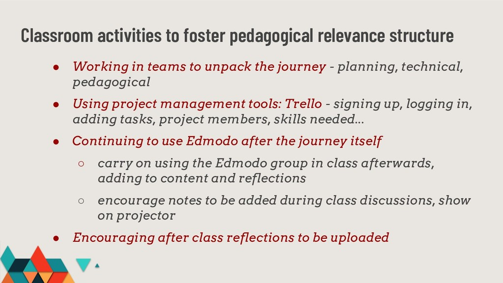 Classroom activities to foster pedagogical rele...