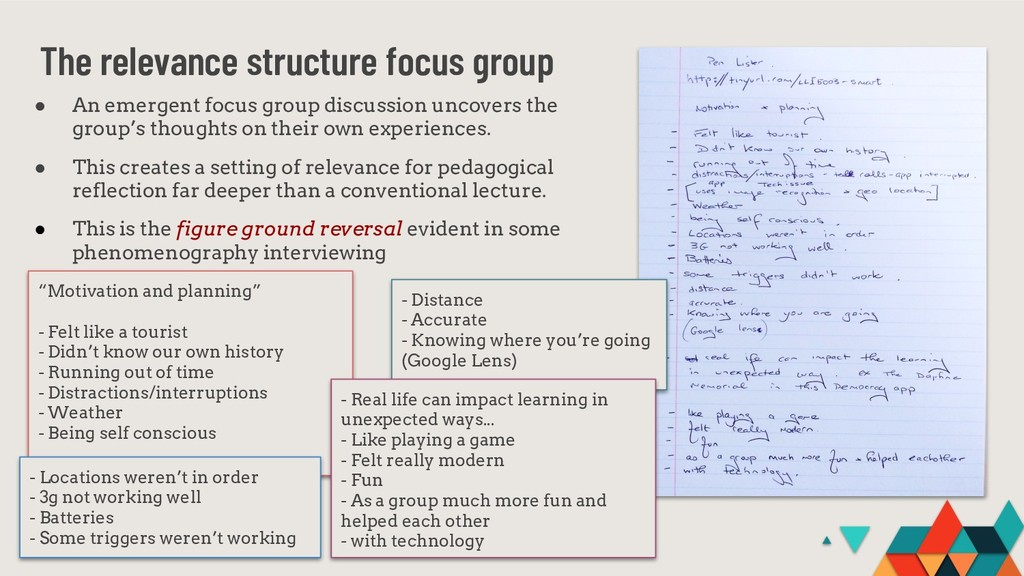 "The relevance structure focus group ""Motivation..."