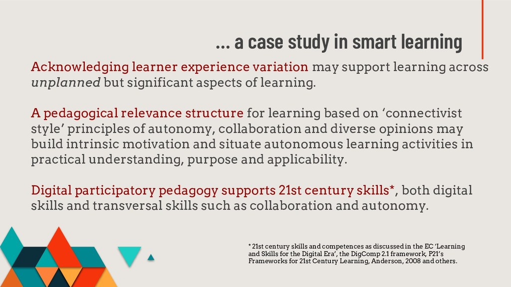 … a case study in smart learning Acknowledging ...