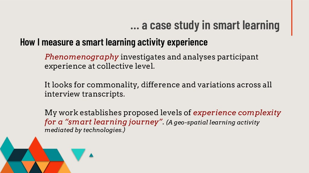 … a case study in smart learning Phenomenograph...