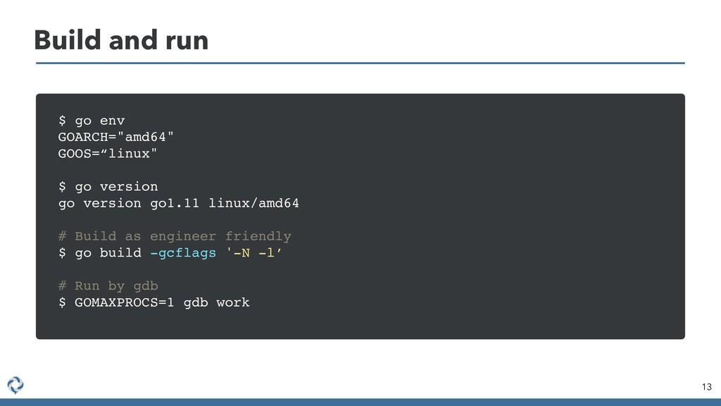 "13 Build and run $ go env GOARCH=""amd64"" GOOS=""..."