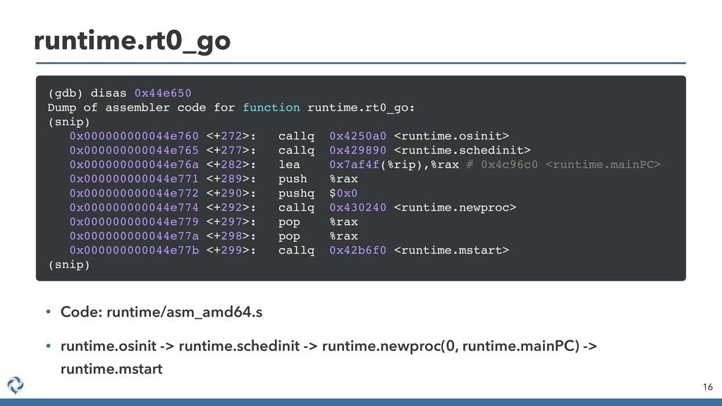 16 runtime.rt0_go (gdb) disas 0x44e650 Dump of ...