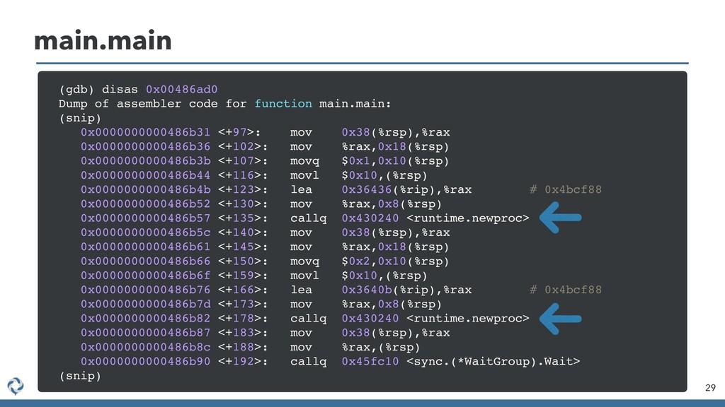 29 main.main (gdb) disas 0x00486ad0 Dump of ass...