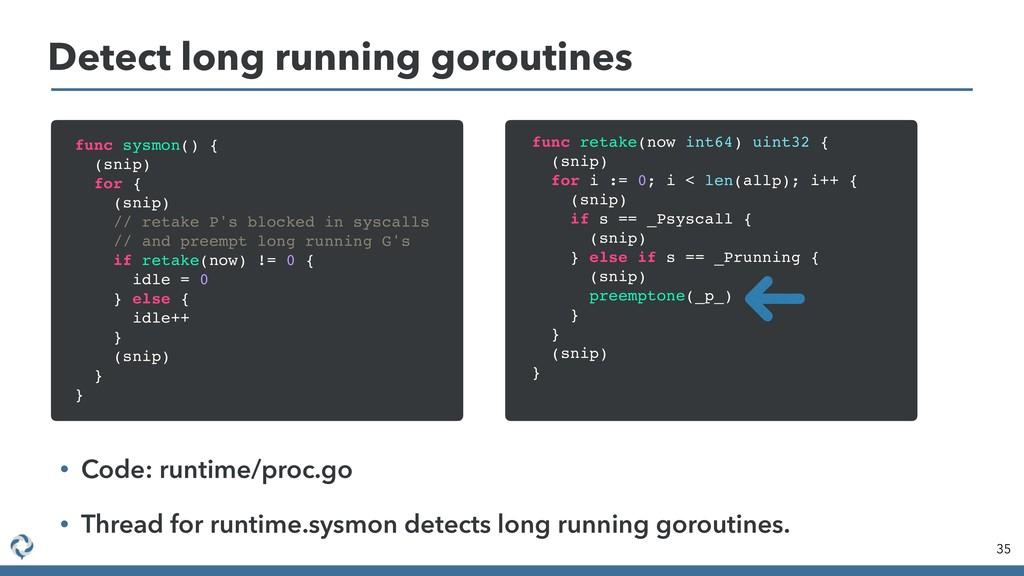 Detect long running goroutines 35 func sysmon()...