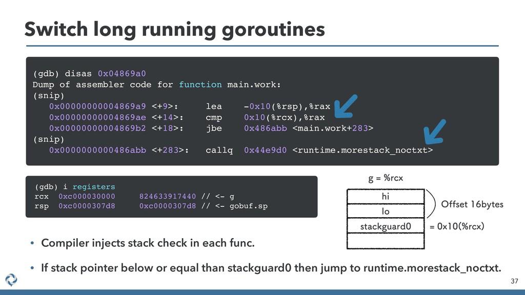 37 Switch long running goroutines (gdb) disas 0...
