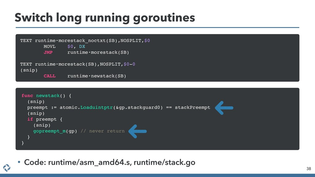 Switch long running goroutines 38 TEXT runtime·...