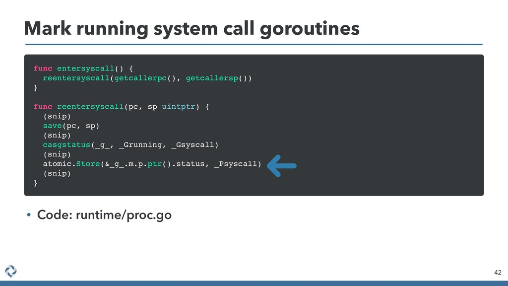 Mark running system call goroutines 42 func ent...