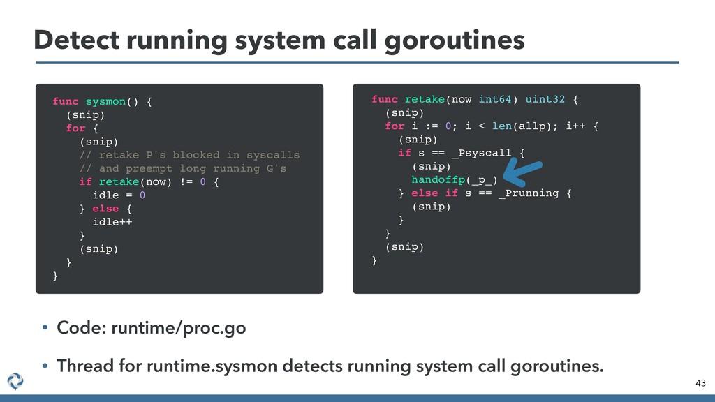 Detect running system call goroutines 43 func s...