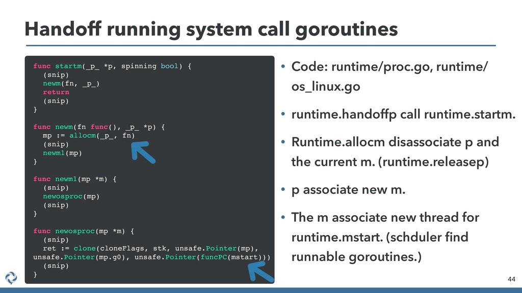 44 Handoff running system call goroutines func ...