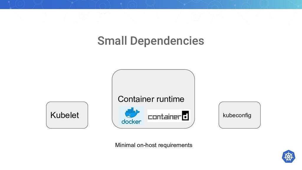 Small Dependencies Kubelet kubeconfig Container...
