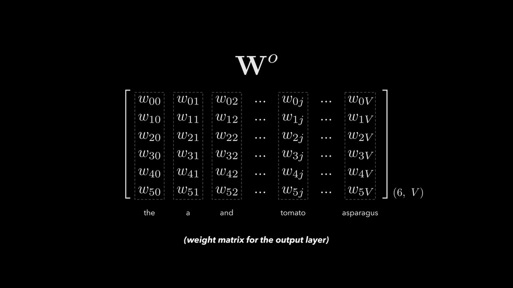 (weight matrix for the output layer)
