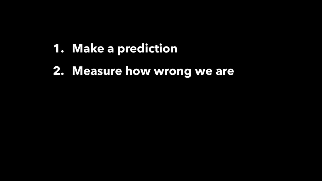 1. Make a prediction 2. Measure how wrong we are