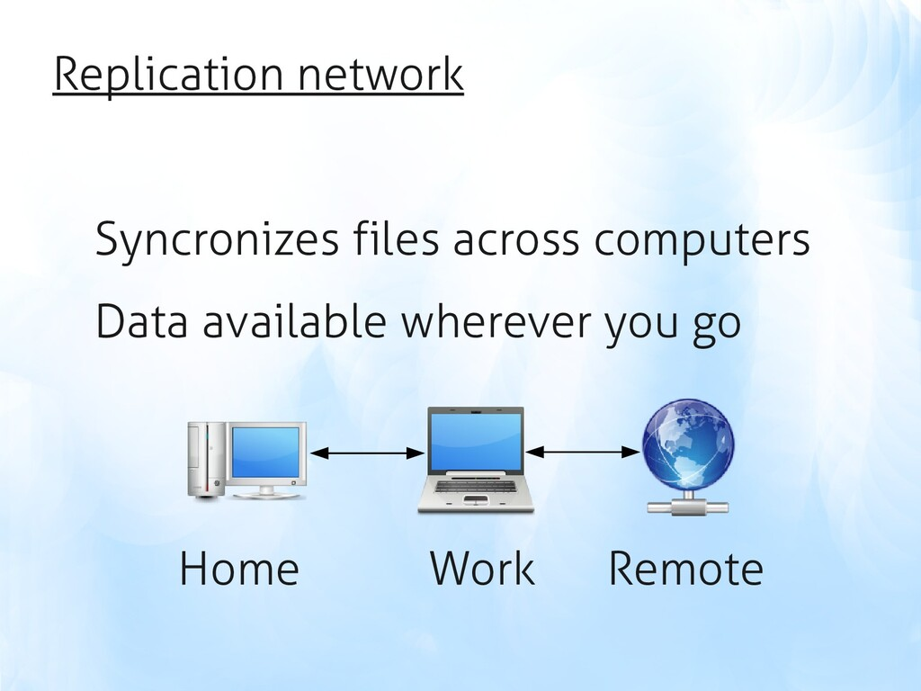 Replication network Syncronizes files across co...