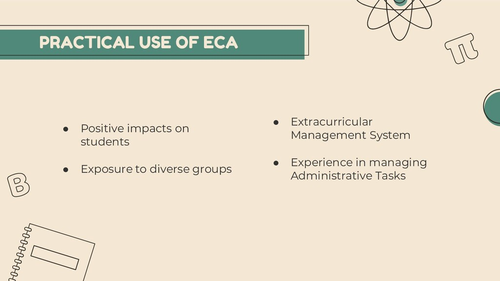PRACTICAL USE OF ECA ● Positive impacts on stud...