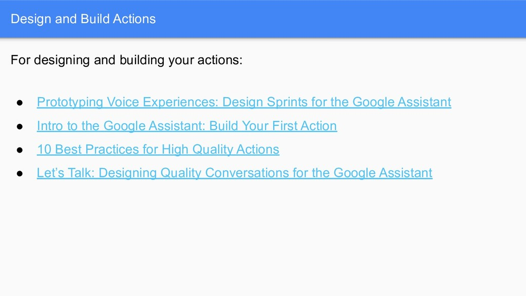 Design and Build Actions For designing and buil...
