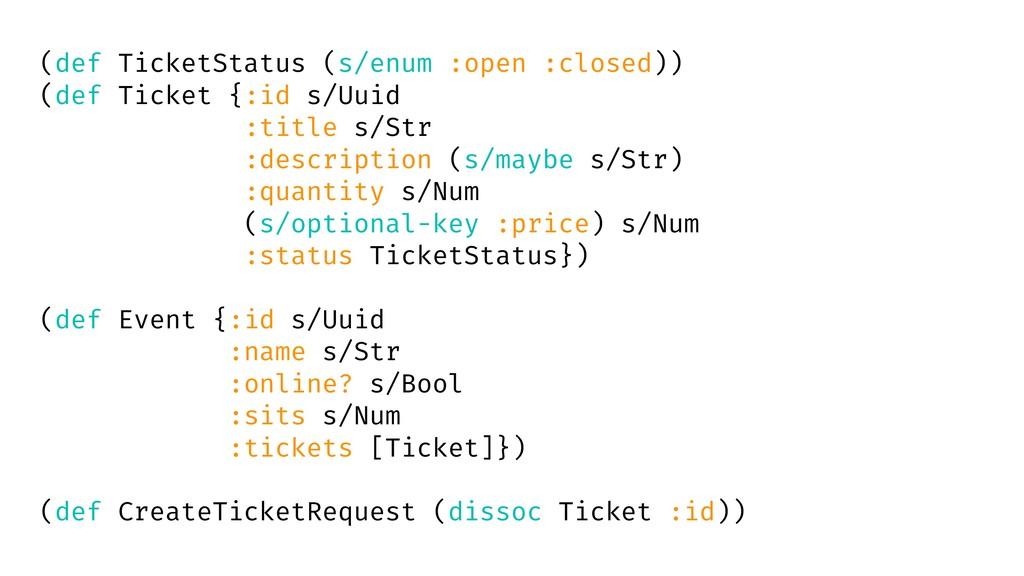 (def TicketStatus (s/enum :open :closed)) (def ...