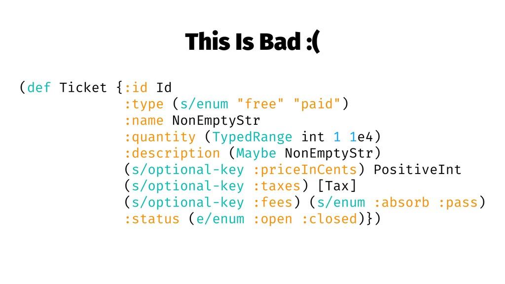 This Is Bad :( (def Ticket {:id Id :type (s/enu...