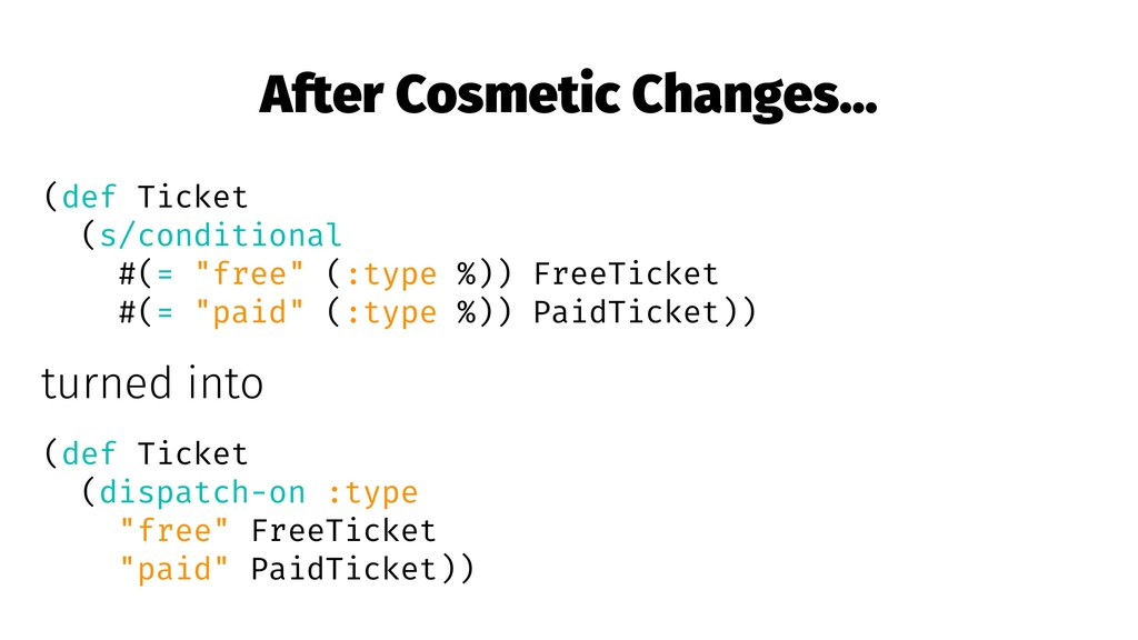 After Cosmetic Changes... (def Ticket (s/condit...