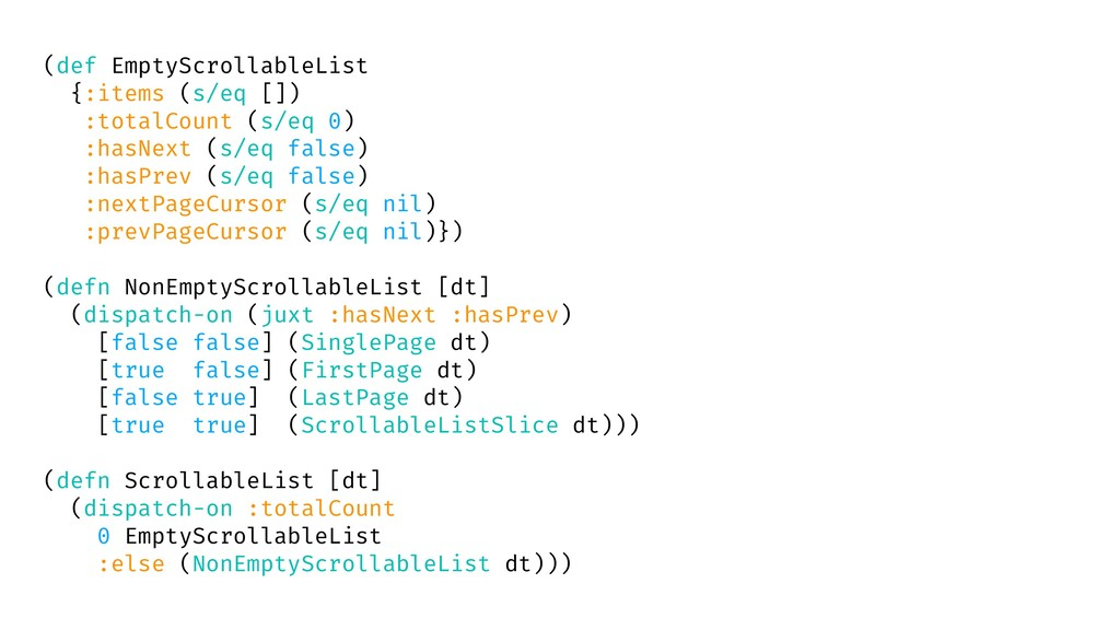 (def EmptyScrollableList {:items (s/eq []) :tot...