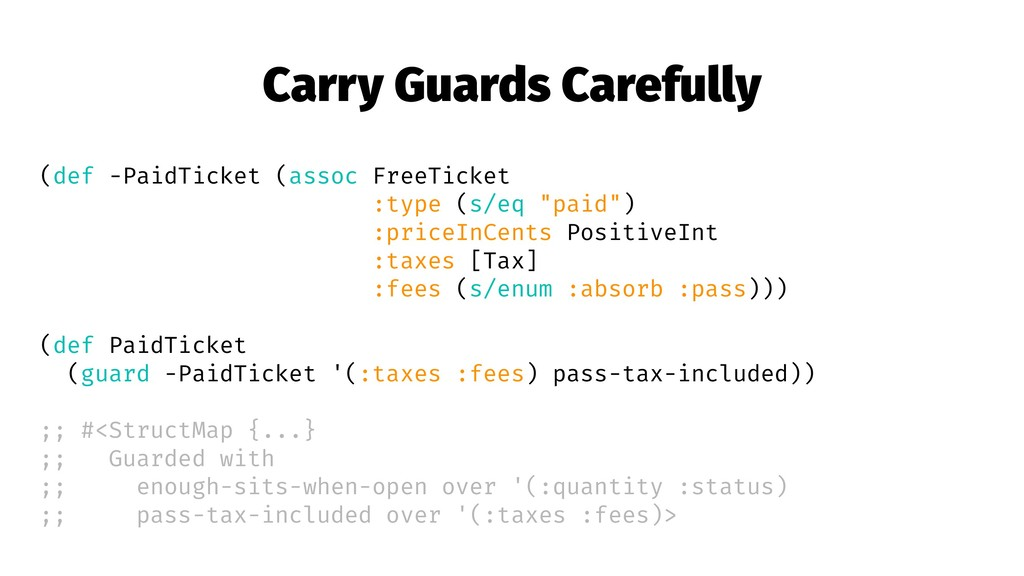Carry Guards Carefully (def -PaidTicket (assoc ...