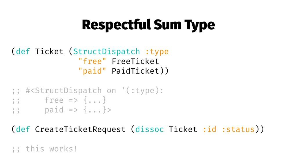 Respectful Sum Type (def Ticket (StructDispatch...