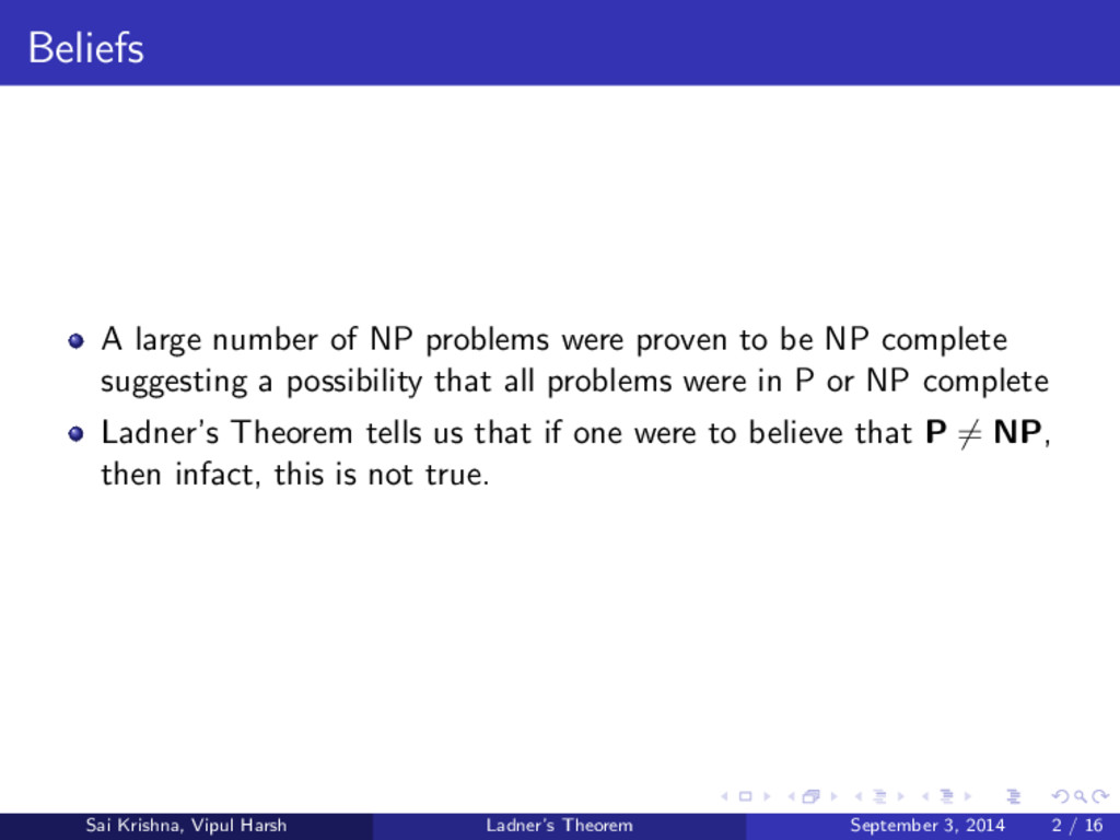 Beliefs A large number of NP problems were prov...
