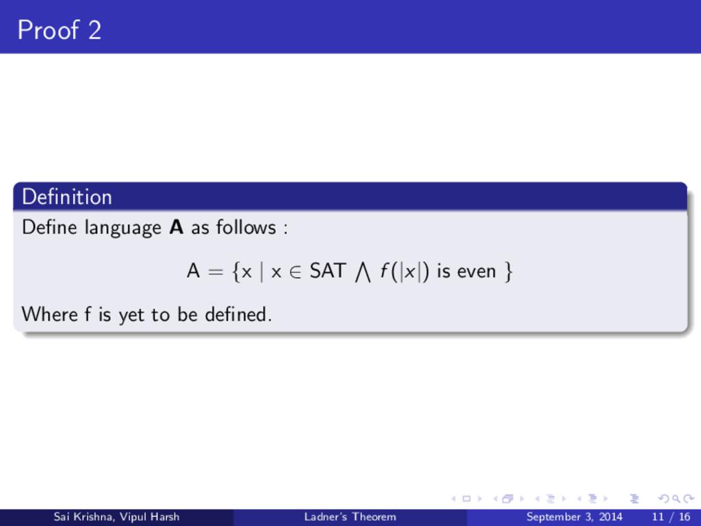 Proof 2 Definition Define language A as follows :...