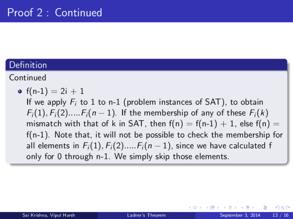 Proof 2 : Continued Definition Continued f(n-1) ...