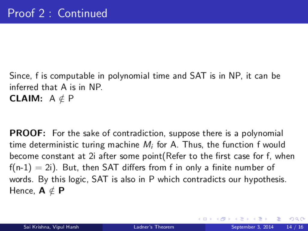 Proof 2 : Continued Since, f is computable in p...