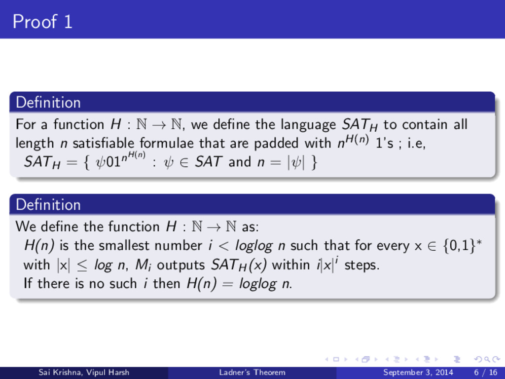 Proof 1 Definition For a function H : N → N, we ...