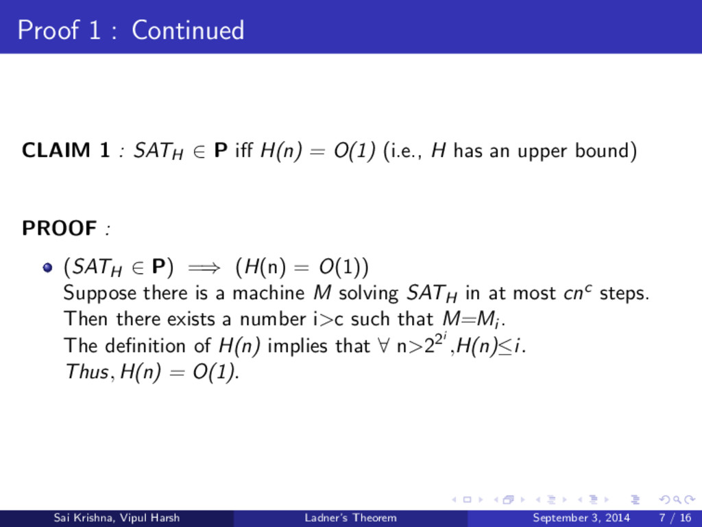 Proof 1 : Continued CLAIM 1 : SATH ∈ P iff H(n) ...