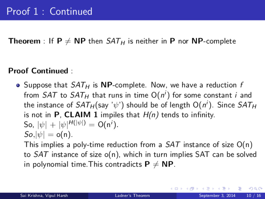 Proof 1 : Continued Theorem : If P = NP then SA...