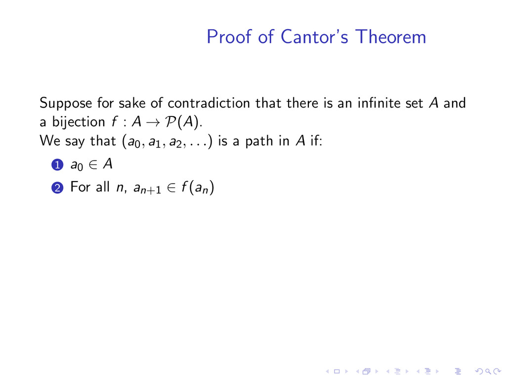 Proof of Cantor's Theorem Suppose for sake of c...