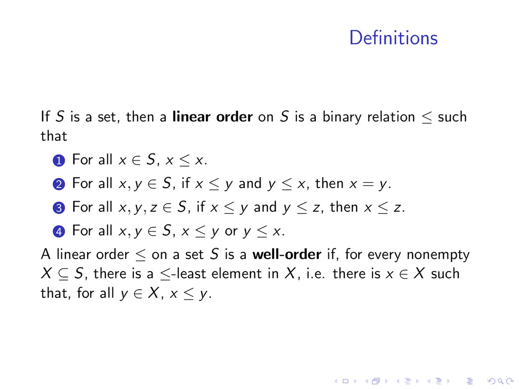 Definitions If S is a set, then a linear order o...
