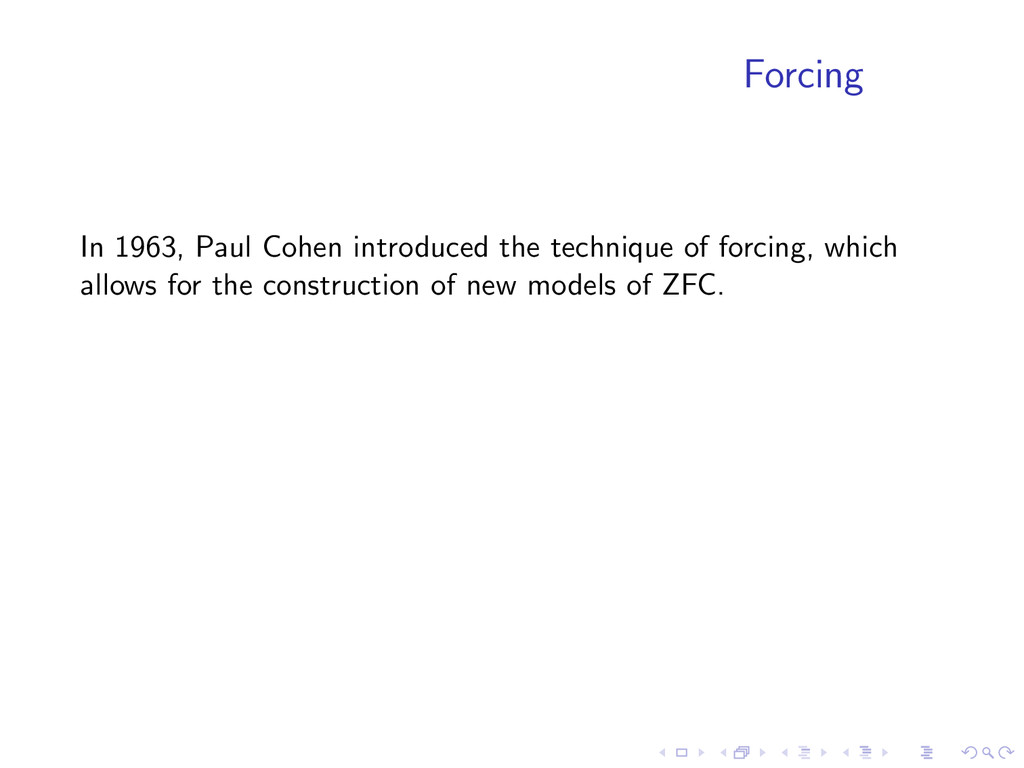 Forcing In 1963, Paul Cohen introduced the tech...