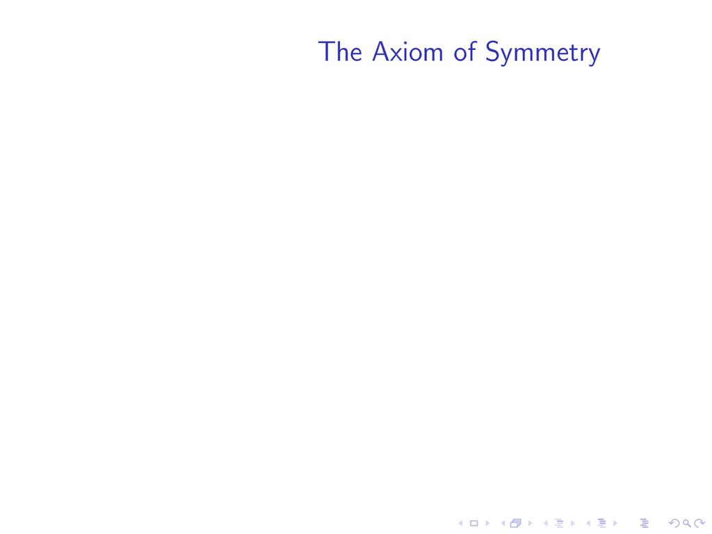 The Axiom of Symmetry