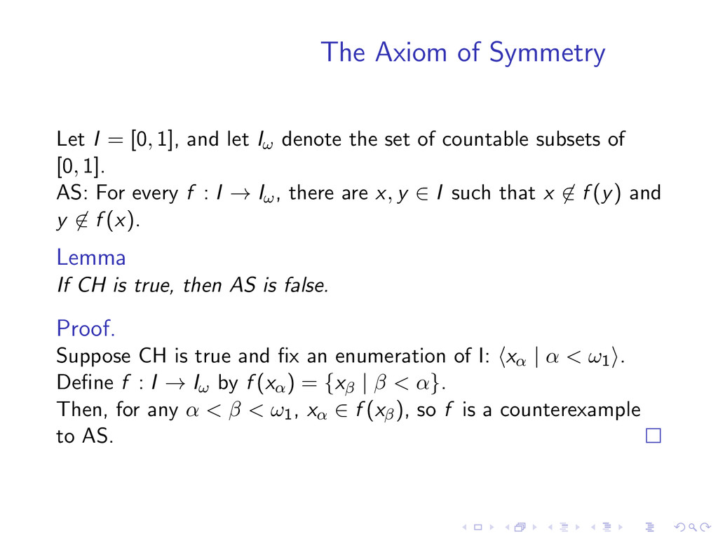 The Axiom of Symmetry Let I = [0, 1], and let I...