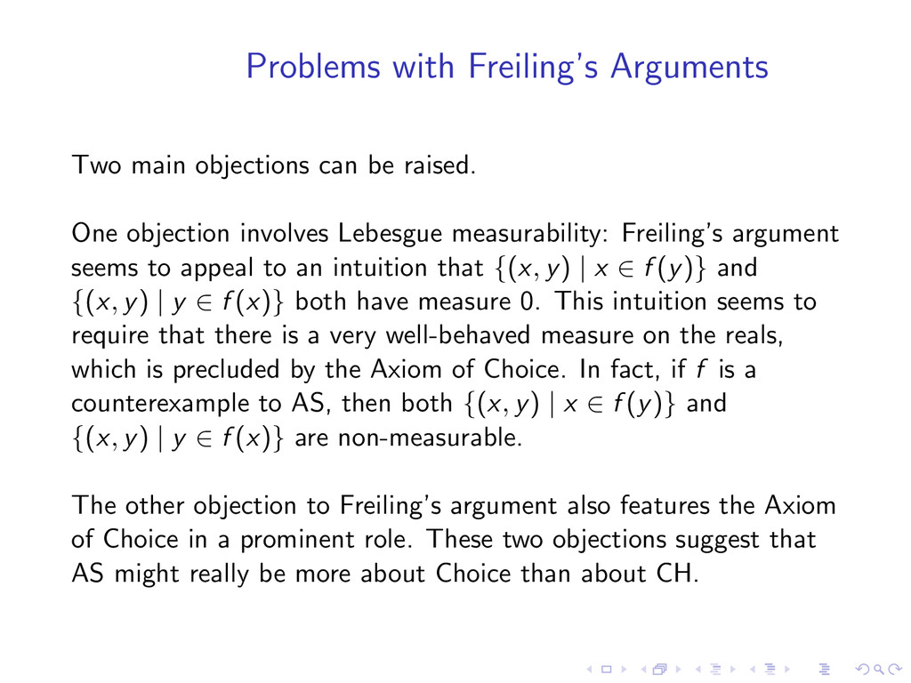 Problems with Freiling's Arguments Two main obj...
