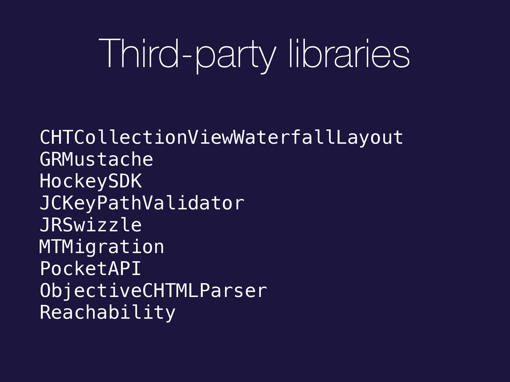 Third-party libraries CHTCollectionViewWaterfal...