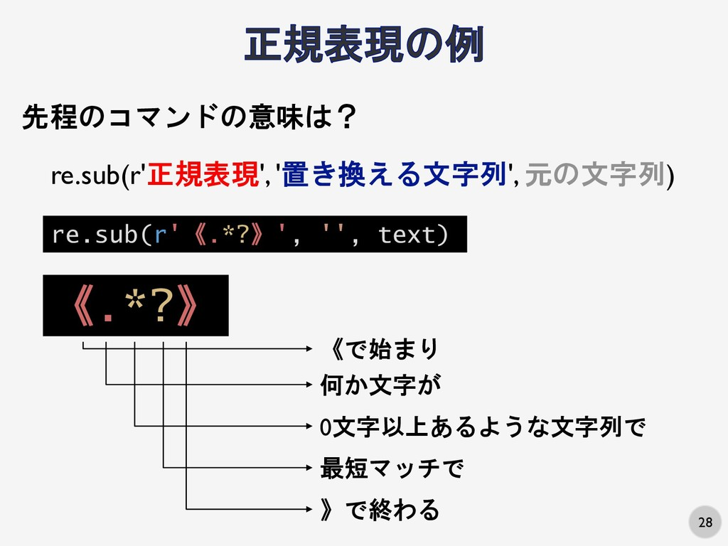 28 re.sub(r'《.*?》', '', text) 先程のコマンドの意味は? re.s...