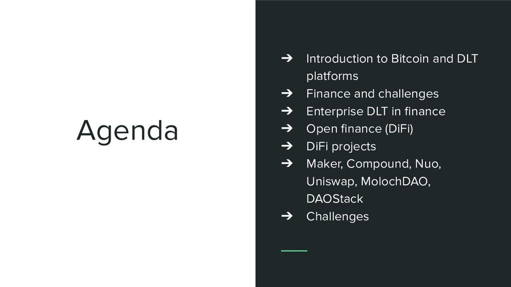 Agenda ➔ Introduction to Bitcoin and DLT platfo...